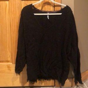 Free people dark brown oversized slouchy sweater
